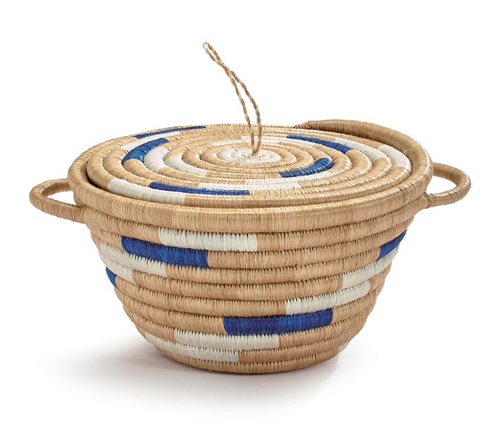 "7"" BLUE AND NATURAL WOVEN POT"