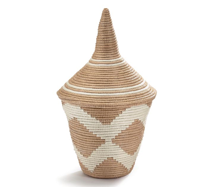 "9"" SISAL PEACE BASKET WITH LID"