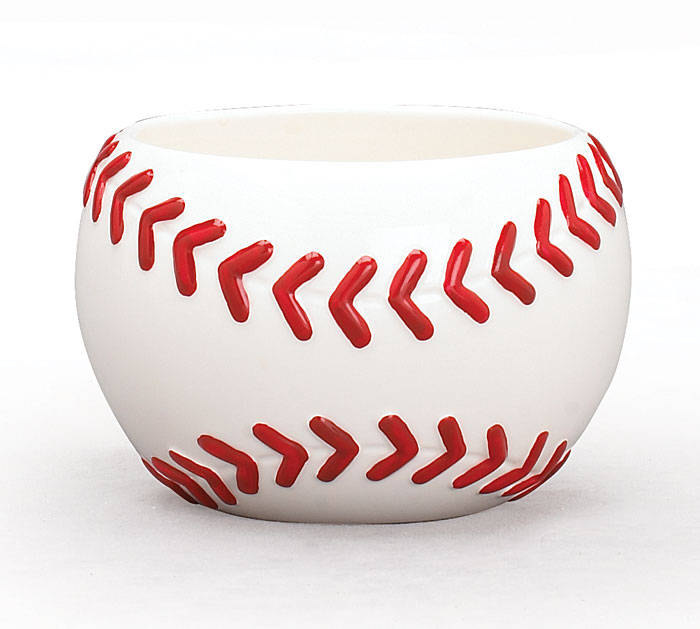 SMALL BASEBALL CERAMIC PLANTER/BOWL