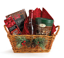 WILLOW BASKET W/ PINE CONE/BERRY ACCENT