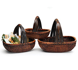WILLOW BASKET SET WITH OVERHEAD HANDLES