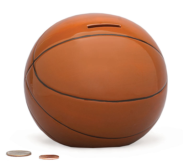 CERAMIC BASKETBALL BANK