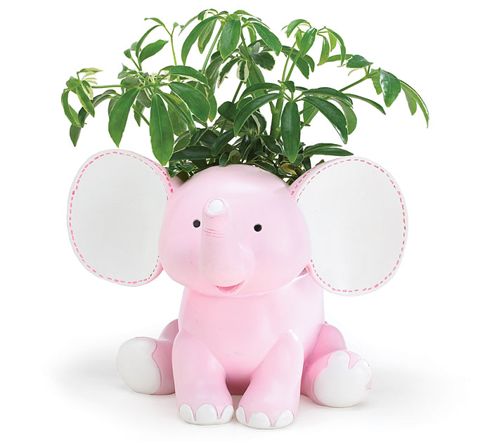PINK SISSY ELEPHANT RESIN PLANTER