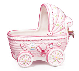 PINK BABY GIRL CERAMIC MUSICAL PLANTER S