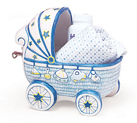 BLUE BABY BOY CERAMIC MUSICAL PLANTER SE