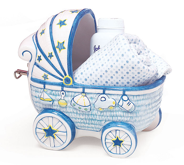 BLUE BABY BOY CERAMIC MUSICAL PLANTER SE