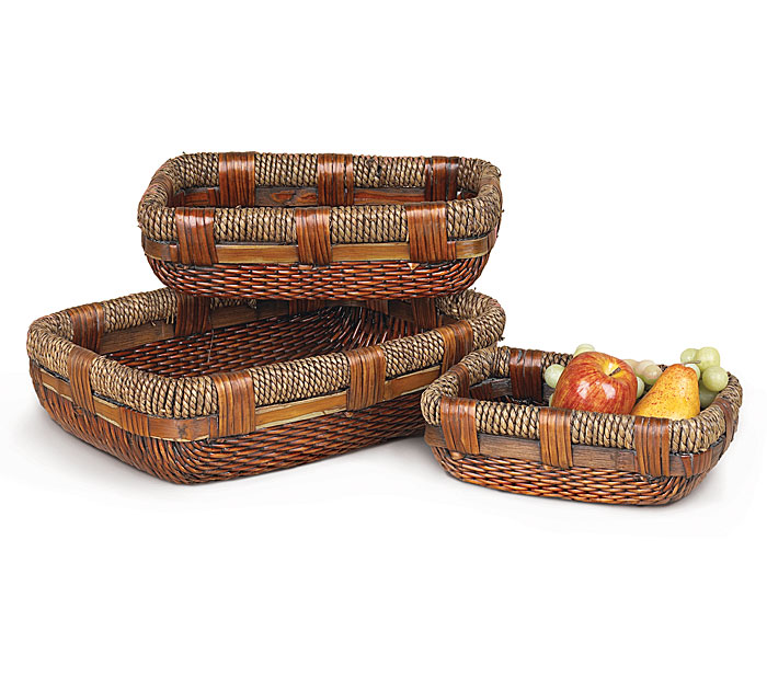 WILLOW AND JUTE BASKET SET