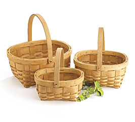 NATURAL CHIP WOOD NESTED BASKET SET