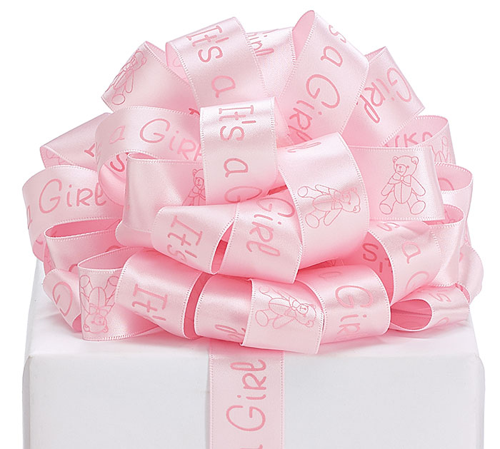 #5 ITS A GIRL SATIN WIRED RIBBON