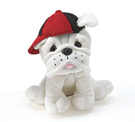 PLUSH WHITE BULLDOG W/ RED/BLACK CAP