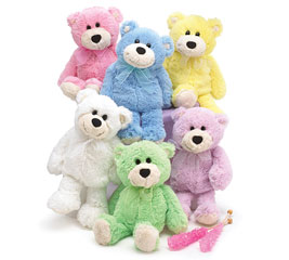 PLUSH 6 PIECE SPRING COLORS BEAR SET