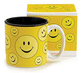 YELLOW SMILEY FACE CERAMIC MUG W/ BOX