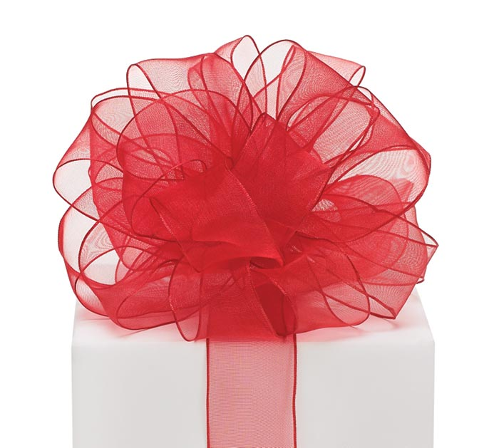 #9 RED ORGANZA WIRED RIBBON