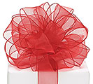#5 RED SHEER WIRED RIBBON