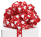 #5 RED SATIN WHITE HEARTS RIBBON