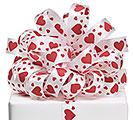 #5 WHITE SATIN RED HEARTS RIBBON