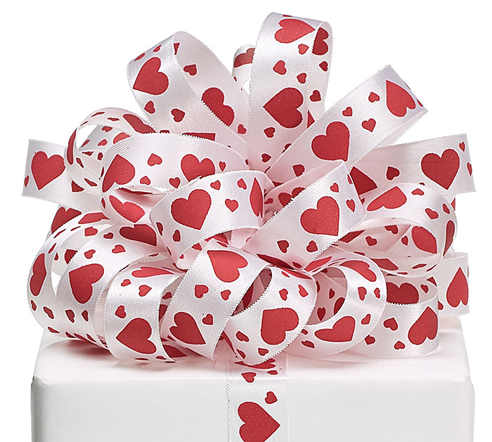 #5 WHITE SATIN RED HEARTS RIBBON