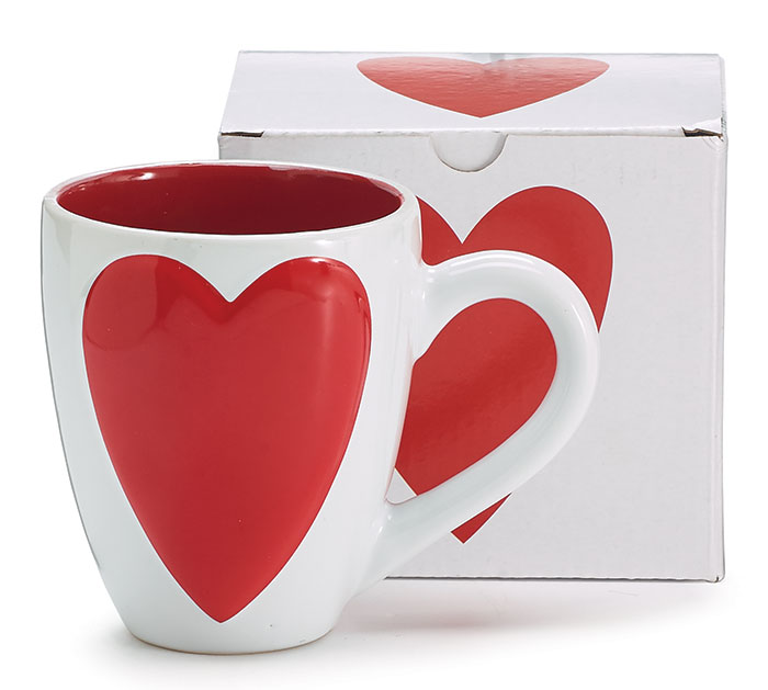 WHITE VALENTINE MUG WITH RAISED HEART