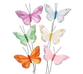 PASTEL FEATHERS BUTTERFLY PICK SET