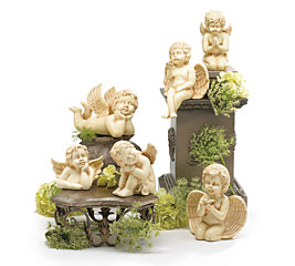 6 PIECE ANTIQUED PORCELAIN CHERUB SET