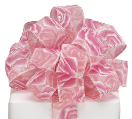 #9 PINK GLITTER ROSES SHEER WIRED RIBBON