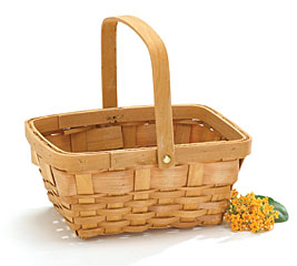 NATURAL CHIP WOOD BASKET W/ HANDLE