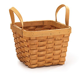 NATURAL CHIP WOOD BASKET W/SIDE HANDLES
