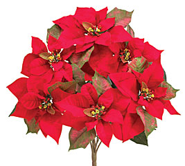 RED SILK POINSETTIA BUSH