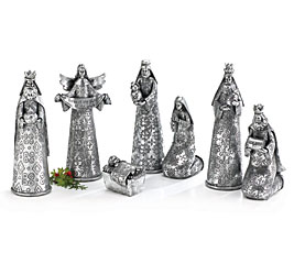 HAMMERED POLY-RESIN SILVER NATIVITY