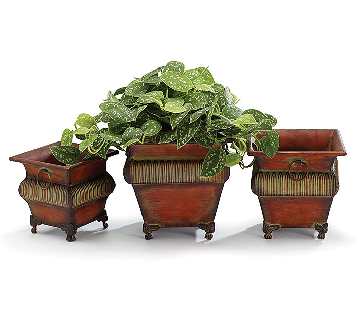 ORNATE RAISED TIN NESTED PLANTER SET