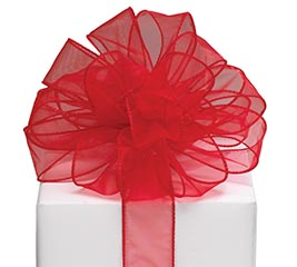 #9 RED SHEER WIRED RIBBON