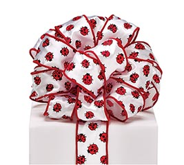 #9 LADYBUG ON WHITE WIRED RIBBON