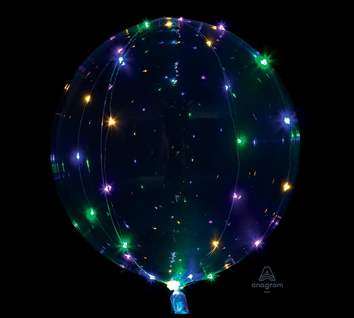 "18"" PKG MULTI COLOR LIGHT CLEARZ BALLOON"