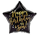 "17""PKG HBD TO YOU GOLD  BLACK STAR"