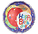 "17""PKG HBD PATTERNED BALLOONS ON BLUE"
