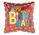 "17""PKG HBD BIRTHDAY STARS ON RED SQUARE"
