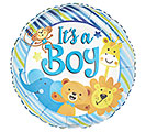 "17""PKG BBY IT'S A BOY ZOO STRIPES"