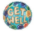 "17"" GET WELL GOLD LETTER ON BLUE"