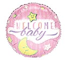 "17""PKG BABY WELCOME BABY GIRL STARS MOON"