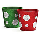 "GREEN AND RED 3"" POT COVER"