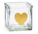 CLEAR GLASS CUBE WITH GOLD HEART