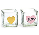 "CUBE GLASS GOLD HEART/PINK HEART ""MOM"""
