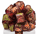 #9 BROWN SATIN LEAVES GLITTER RIBBON