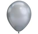 "11"" QUALATEX CHROME SILVER 25CT"