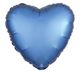 "17""PKG AZURE SATIN LUXE HEART"