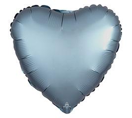 """17""""PKG STEEL BLUE SATIN LUXE HEART"""