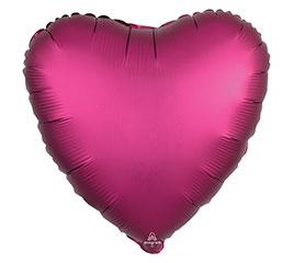 "17""PKG POMEGRANATE SATIN LUXE HEART"