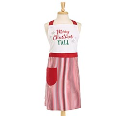 MERRY CHRISTMAS Y'ALL RED/WHITE APRON