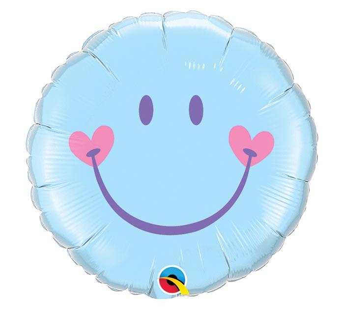 "18"" PKB BLUE SWEET SMILEY FACE BALLOON"