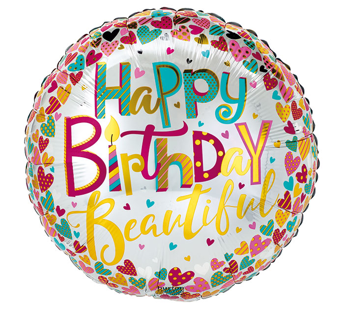"17""PKG HAPPY BIRTHDAY BEAUTIFUL"